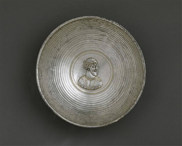 Bowl with a male bust within a medallion, Silver, Sasanian