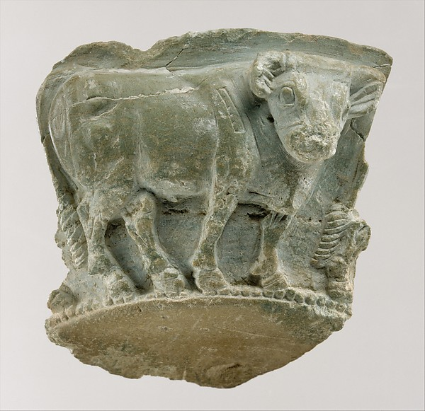 Fragment of a bowl with a frieze of bulls in relief, Steatite with chlorite