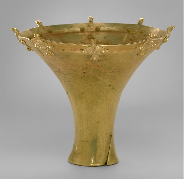 Beaker with birds on the rim, Electrum, Bactria-Margiana Archaeological Complex