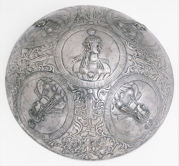 """<bdi class=""""metadata-value"""">Bowl with female busts in medallions Diam. 23.6-24.1 H. 8.1 thickness: at rim 0.62 Weight: 1235 gm.</bdi>"""