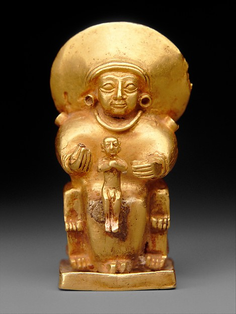 Seated goddess with a child, Gold, Hittite