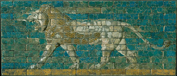 Panel with striding lion, Ceramic, glaze, Babylonian