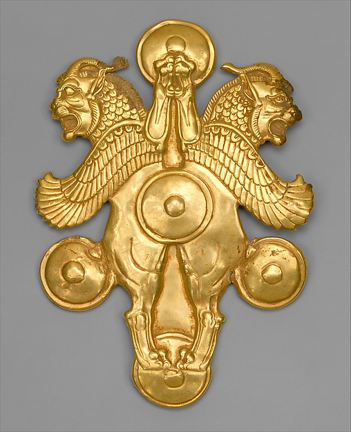 Plaque with horned lion-griffins, Gold, Achaemenid