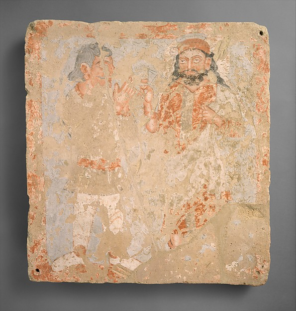 Panel with the god Zeus/Serapis/Ohrmazd and worshiper, Terracotta, gouache, Kushan