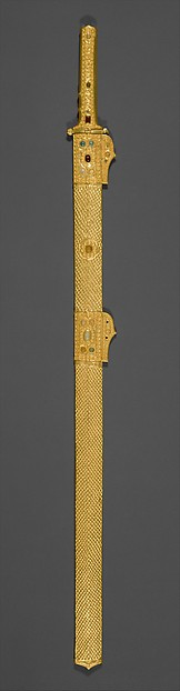 Sword and scabbard, Blade: iron; scabbard and hilt: gold over wood, garnets, glass-paste; guard: gilt-bronze, Sasanian