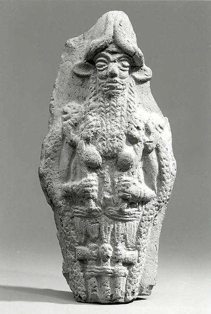 Molded plaque: bearded underworld god, Ceramic, Babylonian