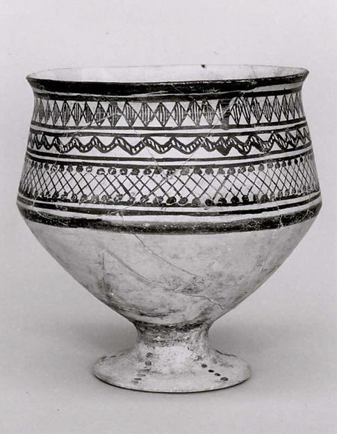 Goblet with geometric designs, Ceramic, paint