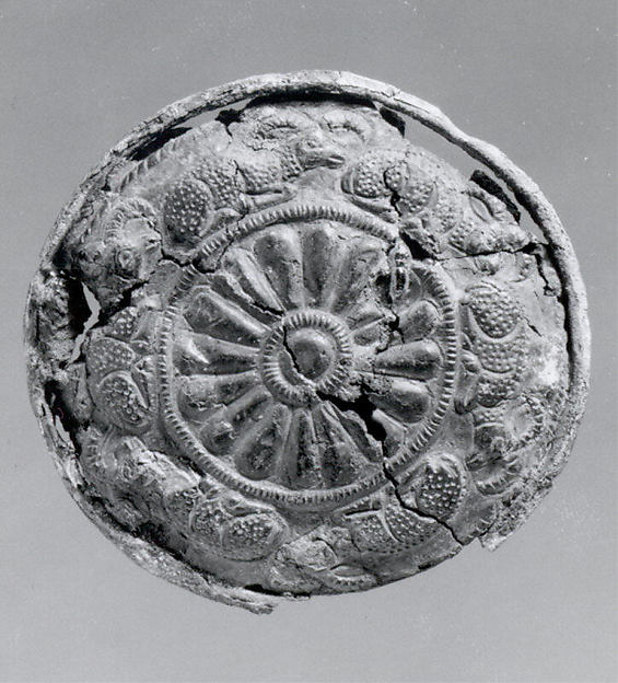 Roundel, Bronze, bitumen, Elamite