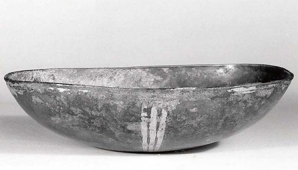 Elliptical bowl, Silver, mercury gilding, Sasanian