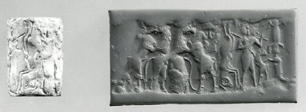 Cylinder seal and modern impression: bull-man, bearded hero, and lion contest frieze, Marble, Sumerian
