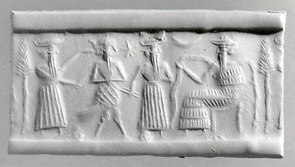 Cylinder seal, Serpentine, black, Akkadian