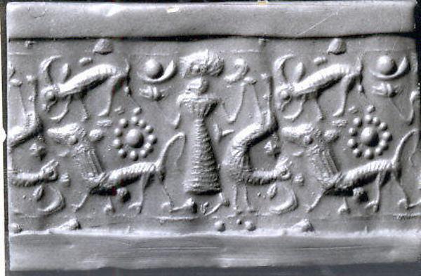 Cylinder seal and modern impression: female figure, ibex, lion, Black-grey hematite, Cypriot