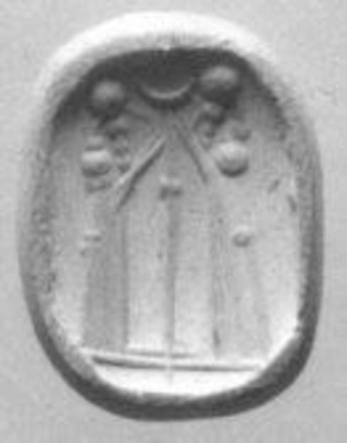Octagonal Pyramidal seal, Jasper breccia, white-grey-black, Babylonian