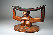 Headrest: Figure, Wood, Kuba peoples, Mbala group
