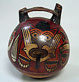 Double Spout Bottle, Feline-Otter, Ceramic, pigment, Nasca