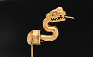 Serpent Labret with Articulated Tongue, Gold, Aztec