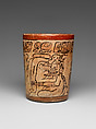Cylindrical Vessel, Ceramic, slip, pigment, Maya