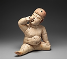 Seated Figure, Ceramic, pigment, Olmec