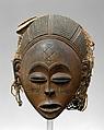Mask: Female (Pwo), Wood, fiber, brass, pigment, Chokwe peoples