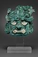 Ornamental mask, Silvered copper, shell, Moche (Loma Negra)