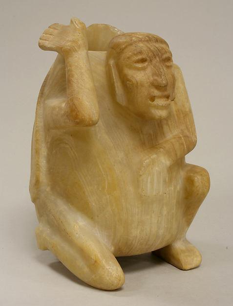 Deity Vessel, Onyx marble (tecalli), Mixtec