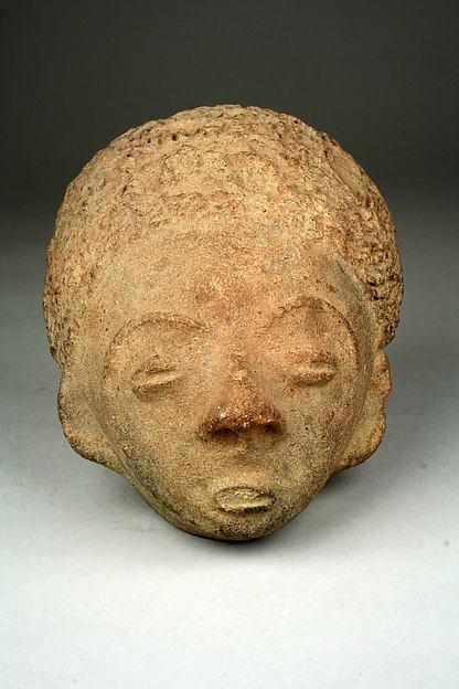 Memorial Head (Mma), Terracotta, Akan peoples, Asante