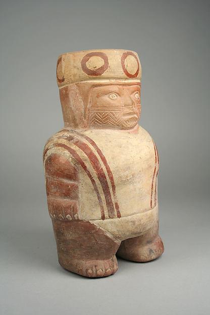 Figure Jar, Ceramic, slip, pigment, Moche