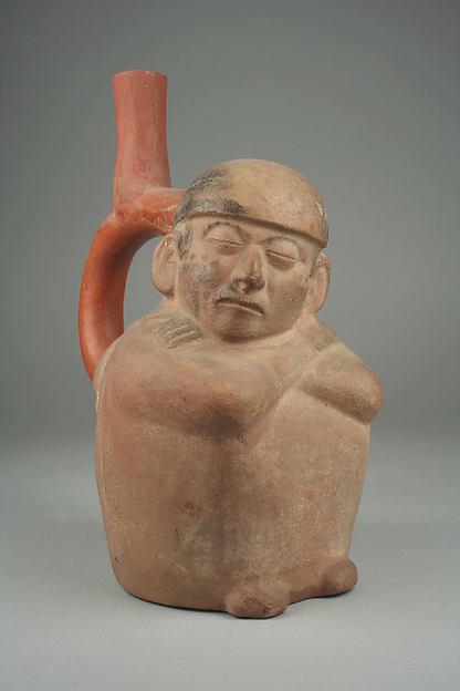 Bottle, Sleeping Figure, Ceramic, slip, pigment, Moche