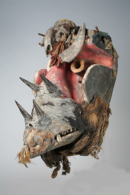 Mask, Wood, animal and human hair, horn, cotton, pigment, chains, fur, Wee peoples