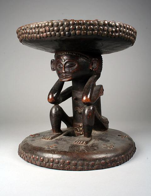 Prestige Stool: Female Caryatid, Wood, metal, brass tacks, and studs, Chokwe peoples