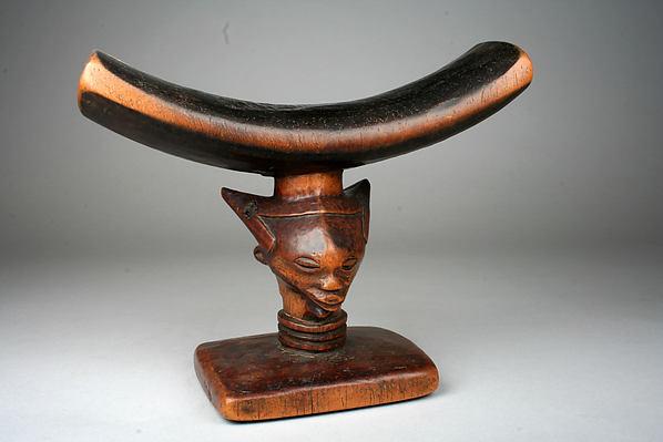 Headrest: Head, Wood, metal tacks, Kuba peoples