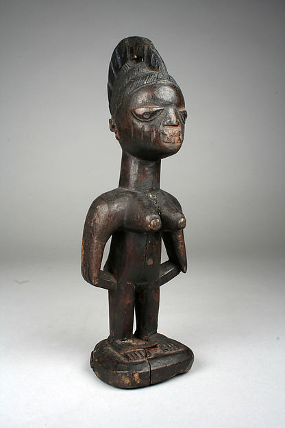 Twin Figure: Female (Ibeji), Wood, pigment, beads, Yoruba peoples