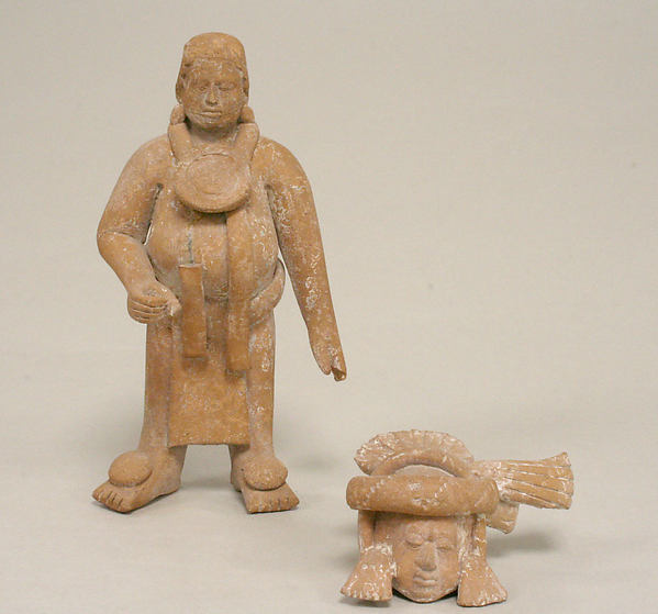 Figure with Helmet Mask, Ceramic, pigment, Maya