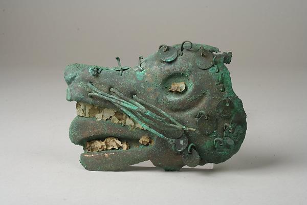 Profile Fox Face, Silvered copper, shell, stone, Moche (Loma Negra)
