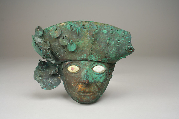 Mask, Gilded copper, shell, stone, Moche (Loma Negra)