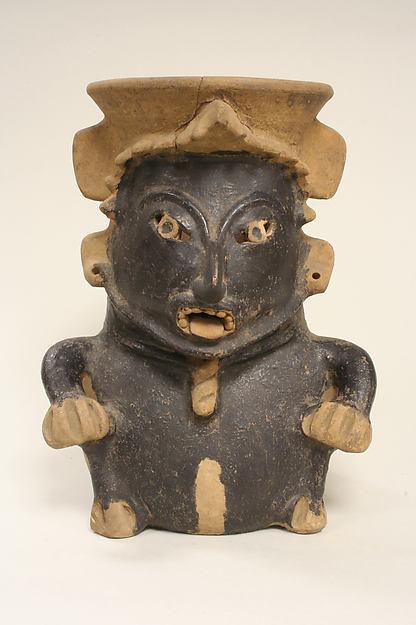 Ceramic Figure Vessel, Ceramic, pigment (asphalt), Remojadas