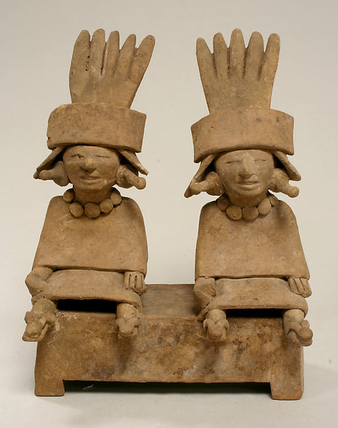 Two Ceramic Figures Seated on a Bench, Ceramic, Remojadas