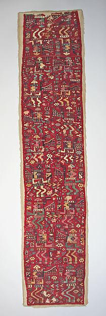 Tunic Fragment, Camelid hair, cotton, Moche-Wari