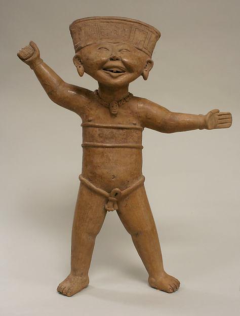 Standing Smiling Figure, Ceramic, Remojadas