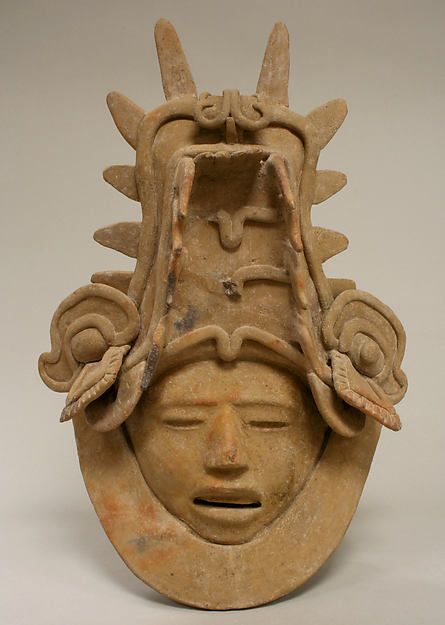 Ceramic Head with Elaborate Headdress, Ceramic, Remojadas