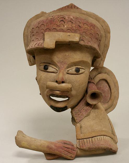 Head, Fragment, Ceramic, pigment, tar, Remojadas