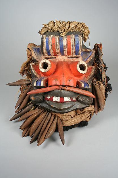 Mask, Wood, tin, cord, cloth, fiber, nails, cartridges, human hair, Guere peoples