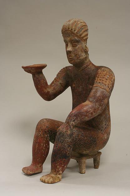 Female Figure Seated on Stool, Ceramic, pigment, Colima