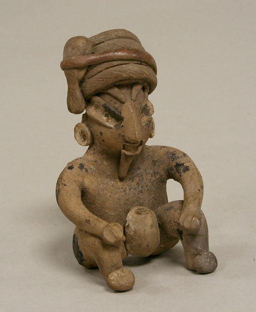 Seated Figure, Ceramic, pigment, Chupicuaro