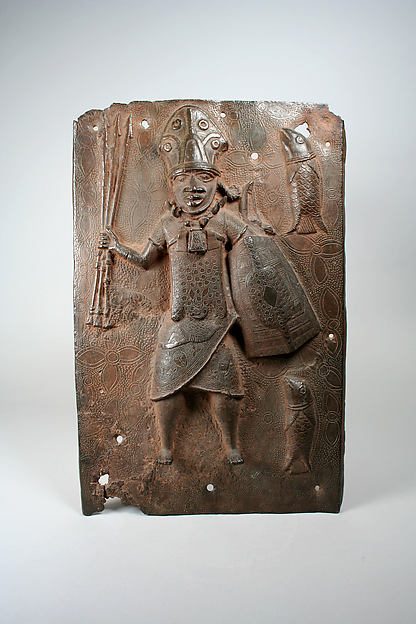 Plaque: Warrior and Fish, Brass, Edo peoples