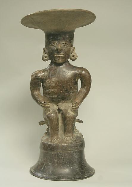 Ceramic Seated Male with Headdress, Ceramic, Manteno