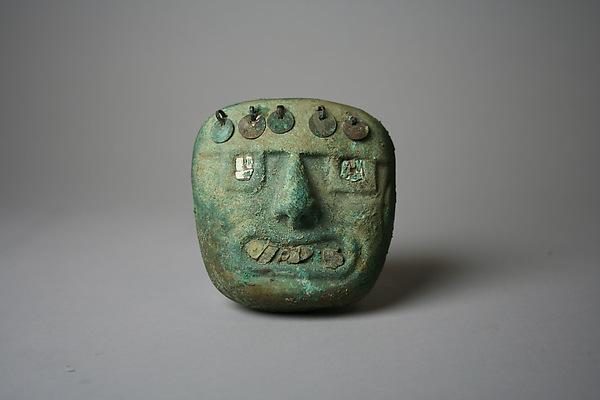 Face Mask Ornament, Gilded copper, shell, Moche (Loma Negra)