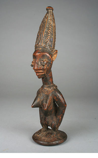 Twin Figure: Female (Ibeji), Workshop of Agbonbiofe  , possibly, Wood, nails, blueing, Yoruba peoples, Ekiti group