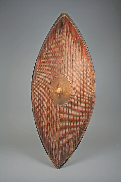 Shield, Wood, cane, hide with fur, Ganda peoples