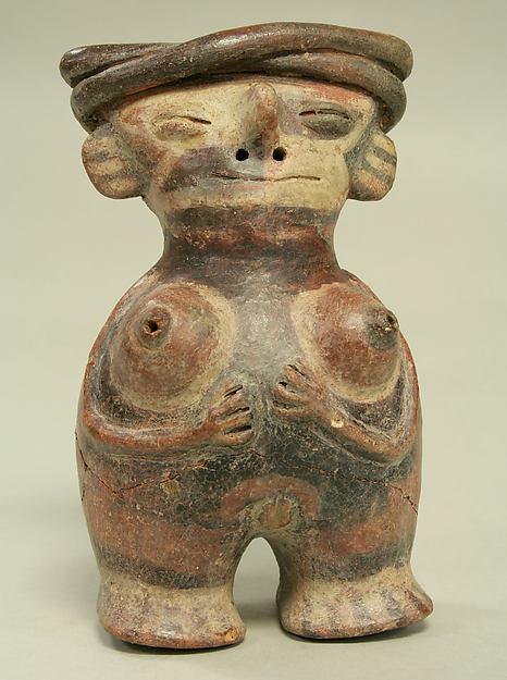 Figure Bottle, Ceramic, pigment, Vicús